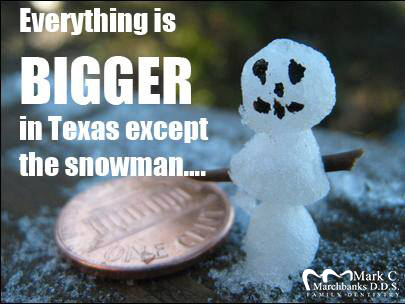 everything is bigger in texas except the snowman