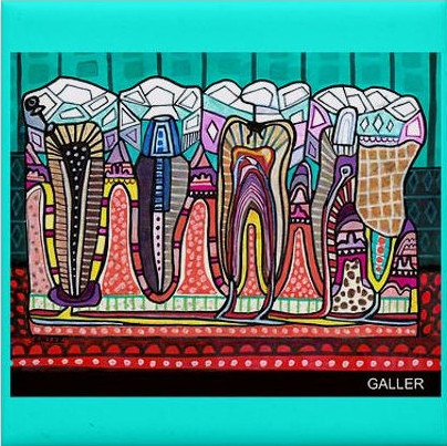 Brightly colored ceramic tile depicts four teeth from side view with bright and varying patterns and sections on a aqua background color.