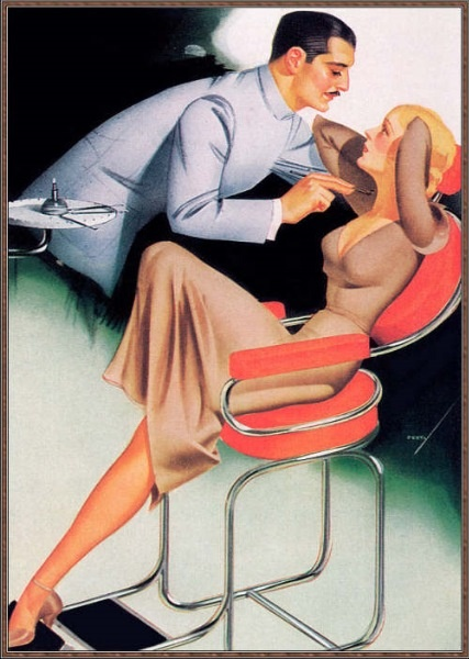 Deco art piece with dentist speaking to lady leaned back in a 60s style coral chair. dentistryiq.com