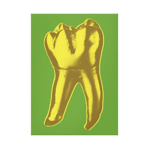 Golden Tooth on green canvas by zazzleart.com.