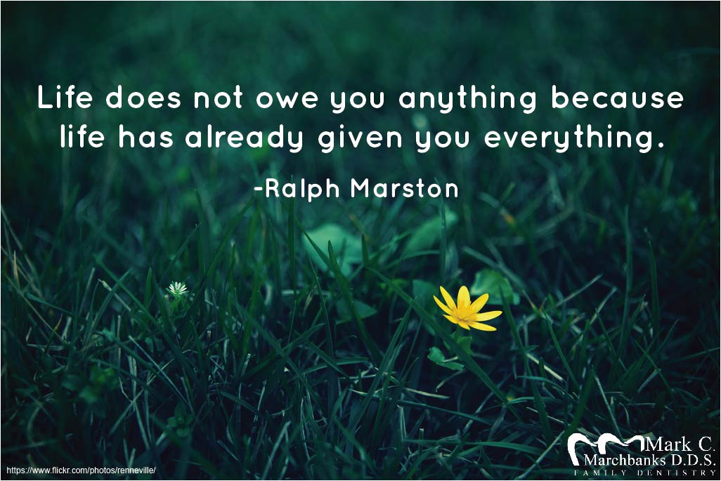 Life does not owe you anything because life has already given you everything
