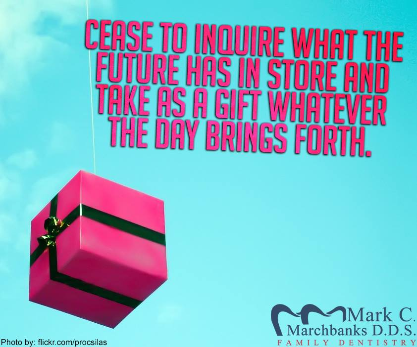 Cease to inquire what the future has in store and take as a gift whatever the day brings forth